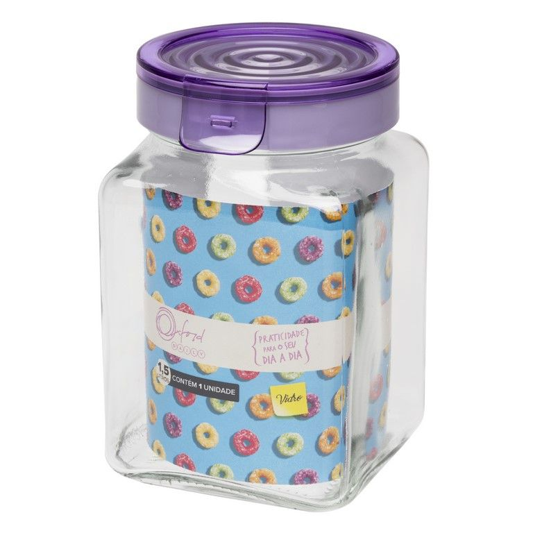 Pote De Vidro Quadrado 1500Ml - Lavanda - Oxford Daily