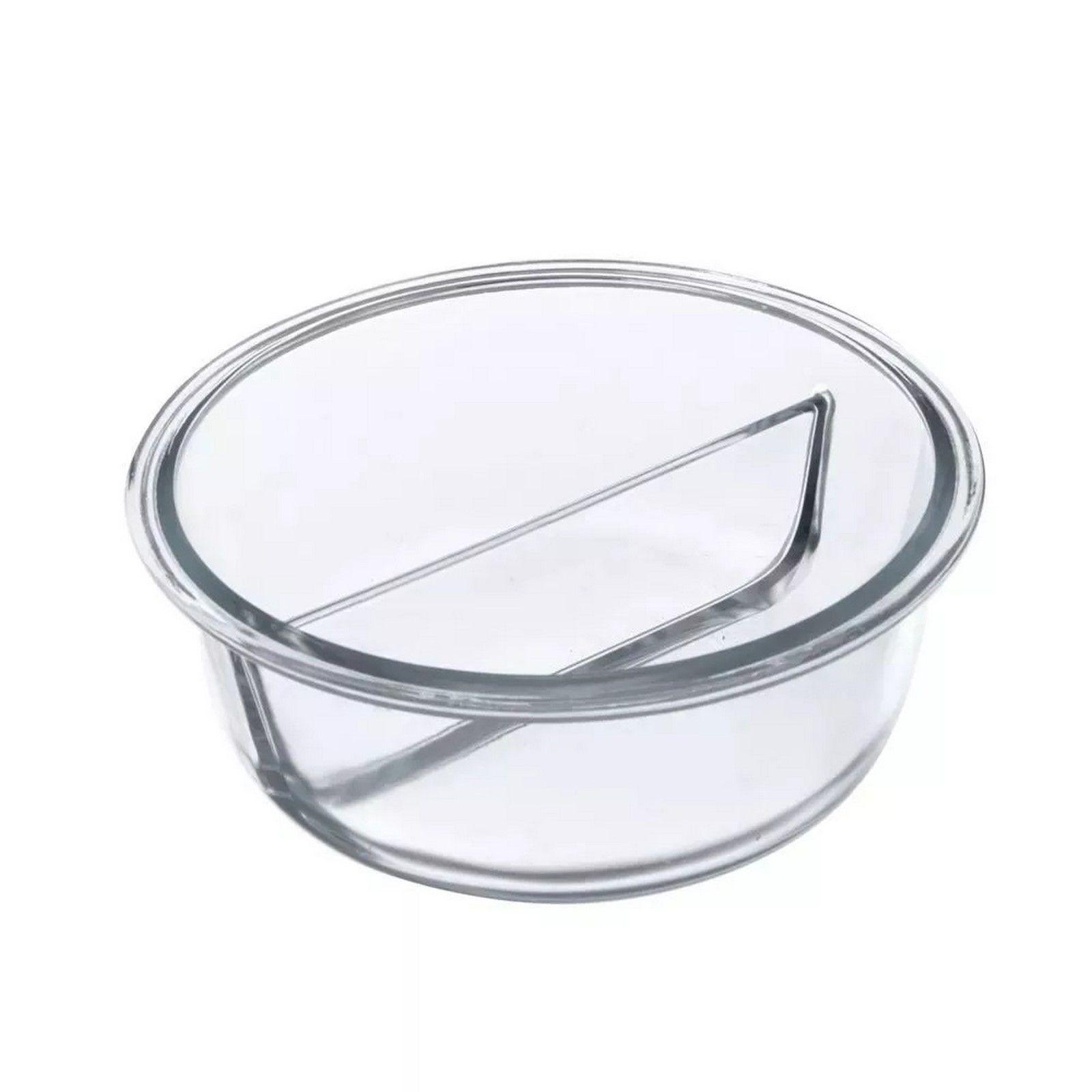 Pote Hermético De Vidro Redondo Com Divisória 833Ml -  Oxford Porcelanas
