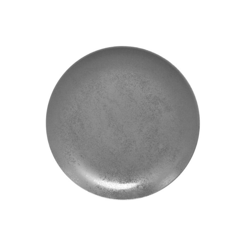 Prato de Porcelana Redondo Raso 21 Cm Cinza - RAK Shale