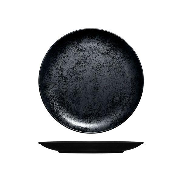 Prato de Porcelana Redondo Raso Sem Borda 29 Cm - RAK Karbon