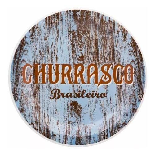 Prato Raso 26Cm Churrasco Brasileiro Floreal Blue - Oxford Daily