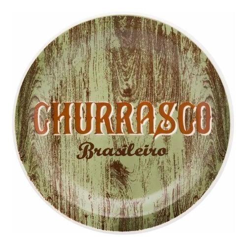 Prato Raso 26Cm Churrasco Brasileiro Floreal Green - Oxford Daily