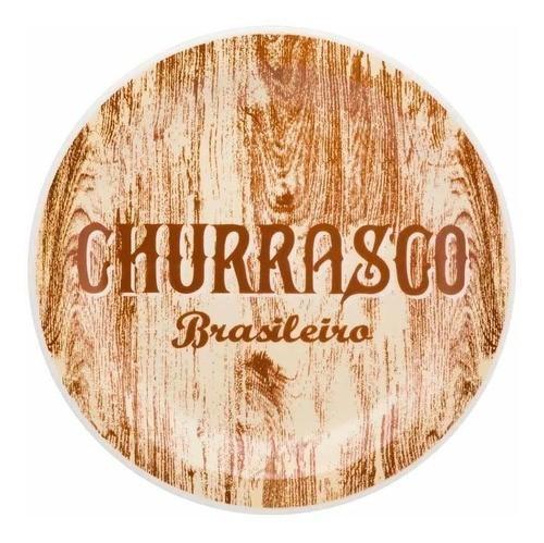 Prato Raso 26Cm Churrasco Brasileiro Floreal Yellow - Oxford Daily
