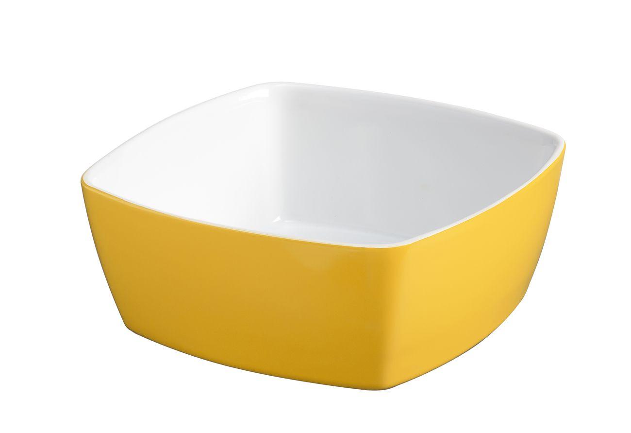 Tigela Quadrada De Cerâmica Mondoceram 14Cm 400Ml  -  Amarelo