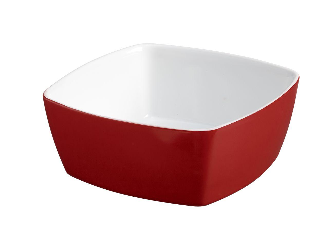 Tigela Quadrada De Cerâmica Ceraflame 14Cm 400Ml  -  Vermelho