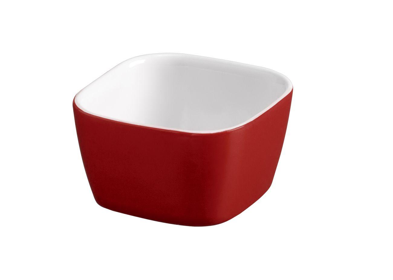 Tigela Quadrada De Cerâmica Mondoceram 6Cm 50Ml  -  Vermelho