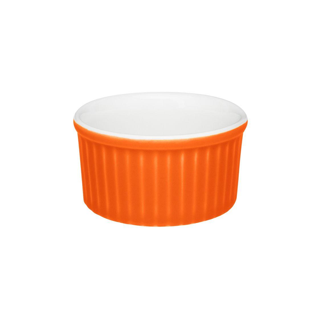Tigela Ramequin 8X4Cm 100Ml - Branco/Laranja - Oxford Cookware