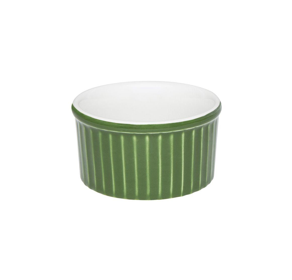 Tigela Ramequin 8X4Cm 100Ml - Branco/Verde - Oxford Cookware