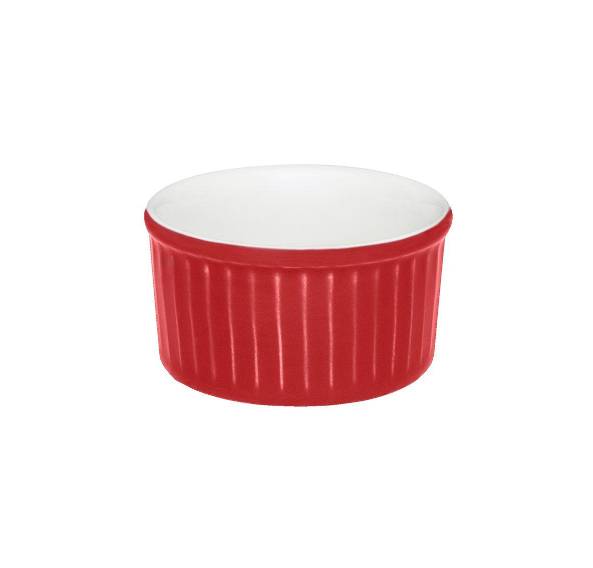 Tigela Ramequin 8X4Cm 100Ml - Branco/Vermelho - Oxford Cookware