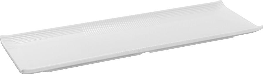 Travessa Retangular Rasa Em Melamina 38,2X12,8X2,3Cm - Branco Marfim - Oxford