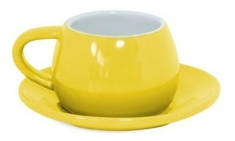 Xícara E Pires Tropeiro De Cerâmica Ceraflame Amarelo