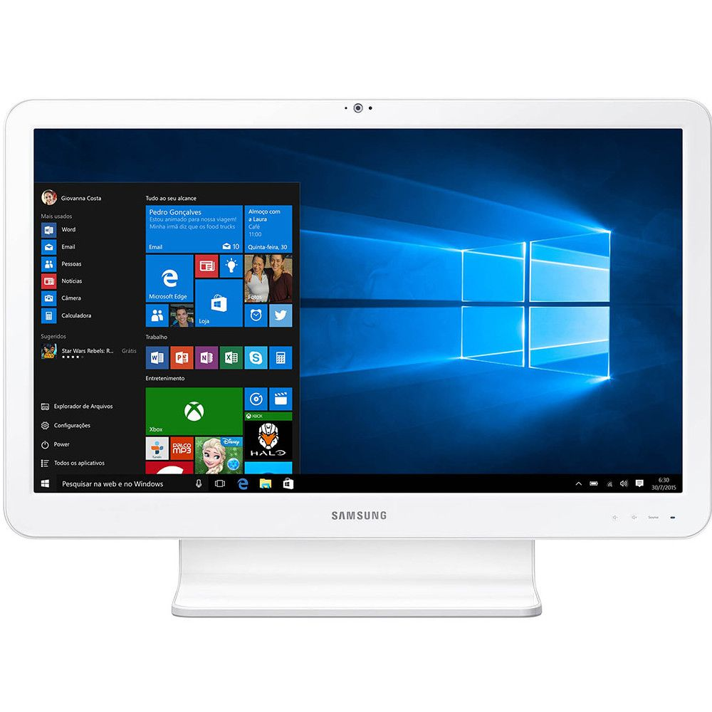 Computador Samsung All In One E1, Intel Celeron 3865U, Tela 21.5'', 4GB, 500GB Windows 10 Home - Branco