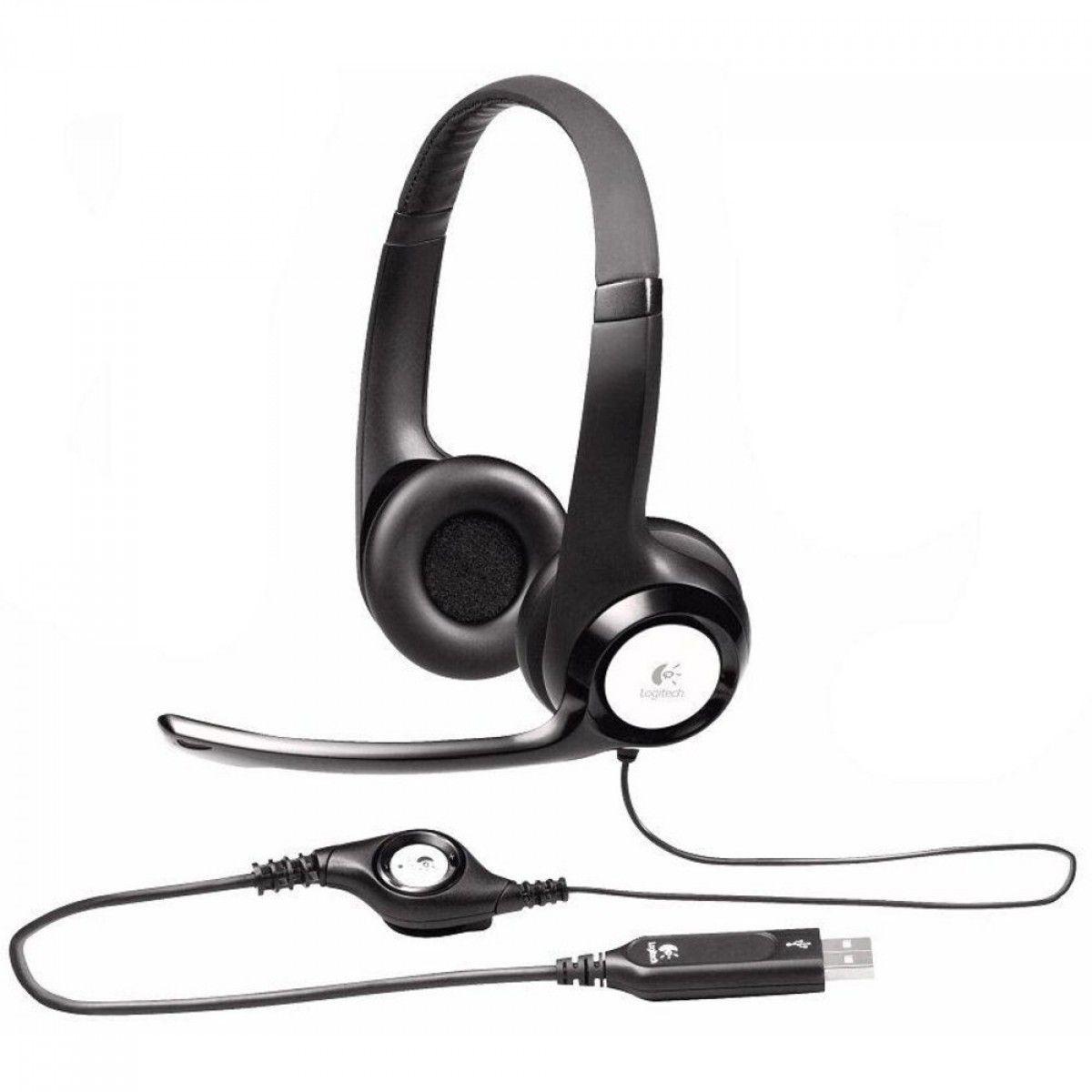 Headset Logitech H390 Preto Couro - USB, com Microfone
