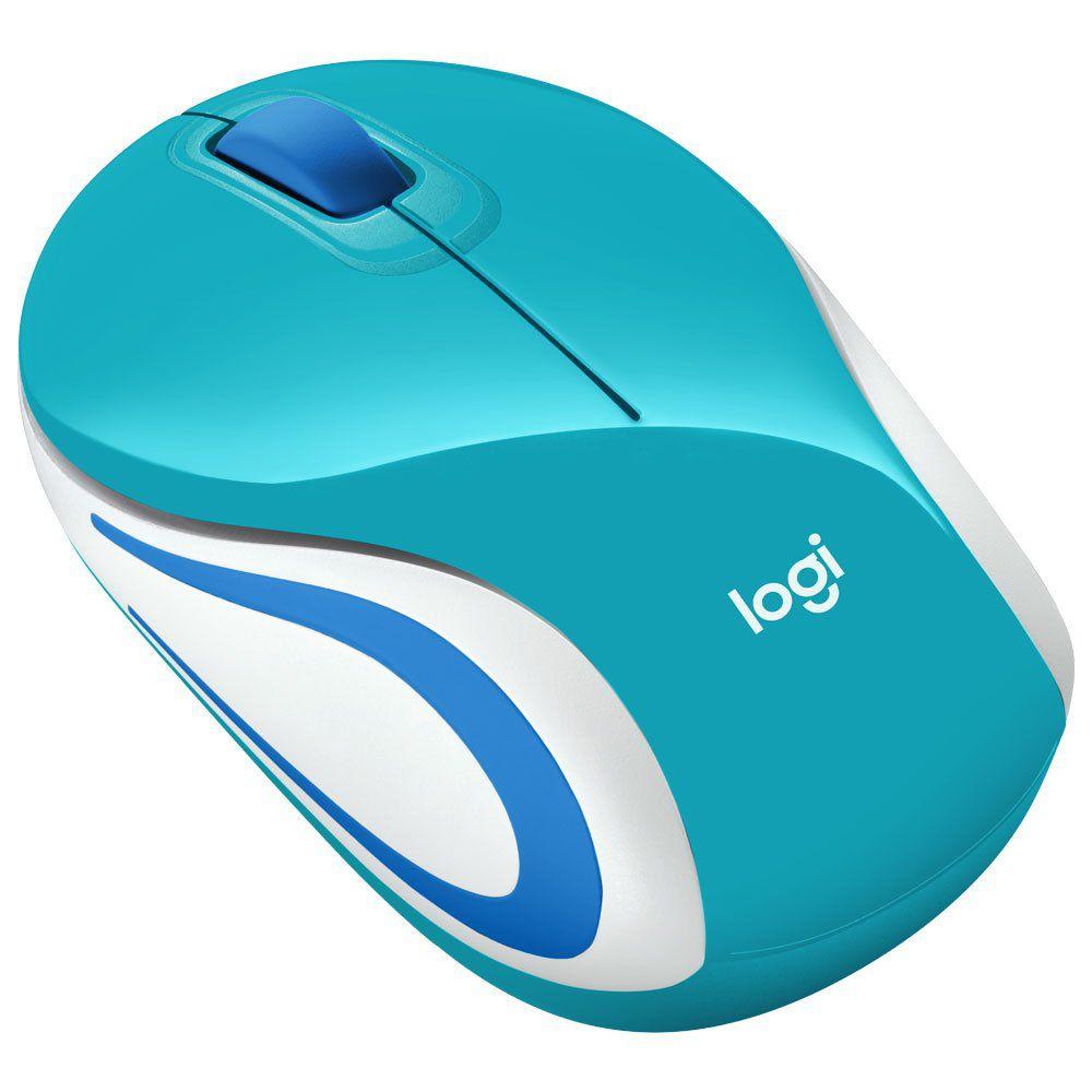 Mouse Sem Fio Mini Logitech M187 Verde Água