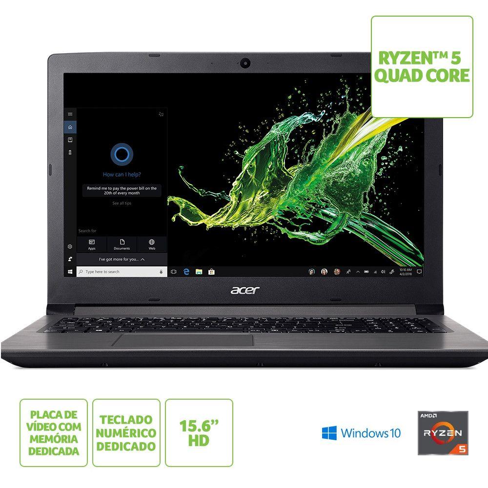Notebook Acer A315-41G-R21B, AMD RAYZER 5 2500U, 8GB, HD 1TB, Tela 15.6'' - Windows 10 Home