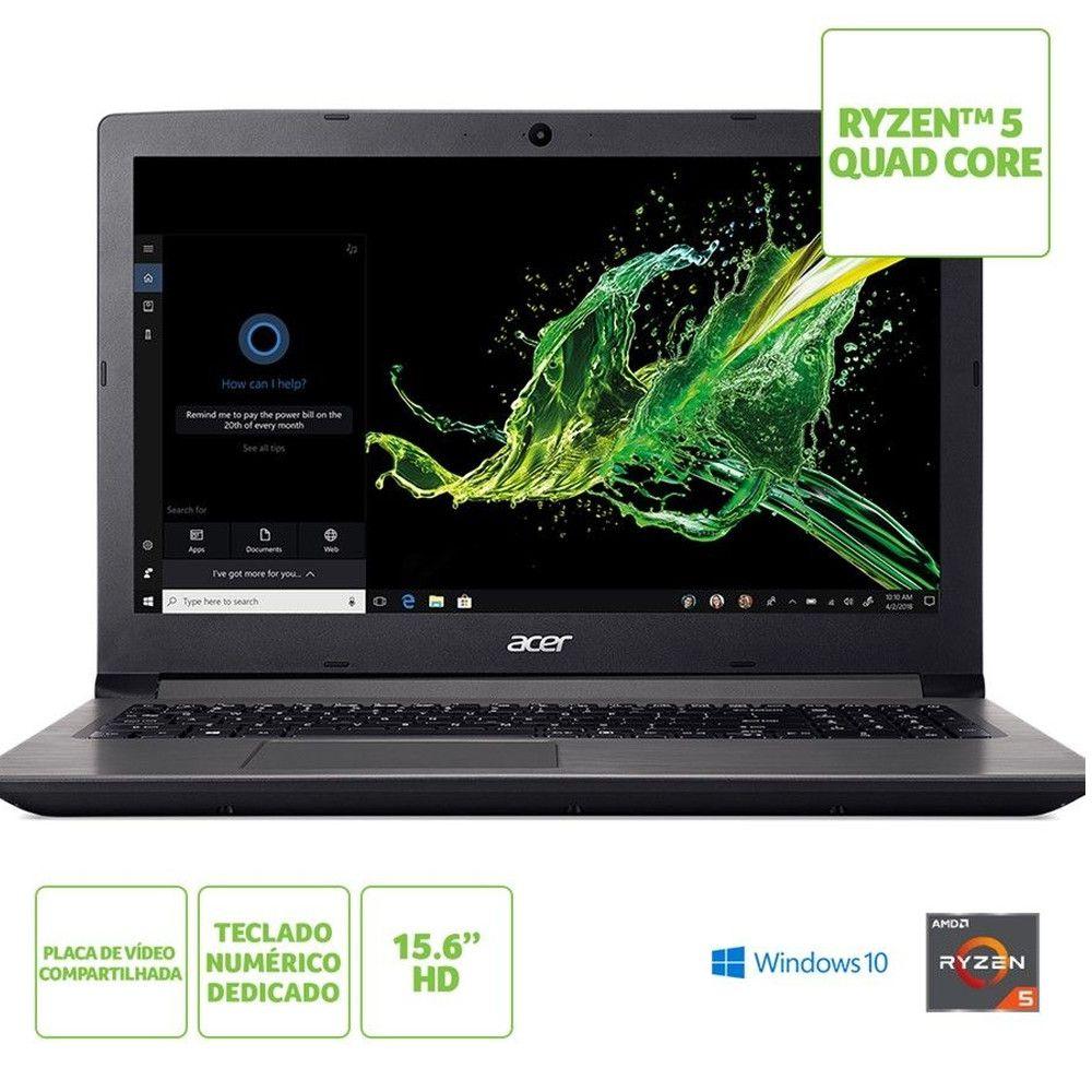 Notebook Acer Aspire 3 A315-41-R2MH AMD Ryzen 5 , 8GB, HD 1TB, Tela 15.6'' - Windows 10 Home