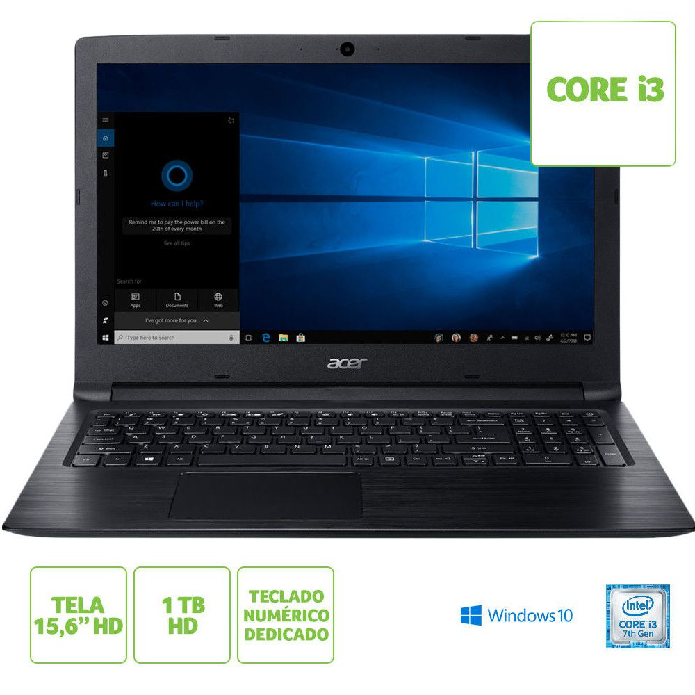 "Notebook Acer Aspire 3 A315-53-333H Intel® Core™ i3-7020U Memoria RAM de 4GB HD de 1TB Tela de 15.6"" Windows 10"