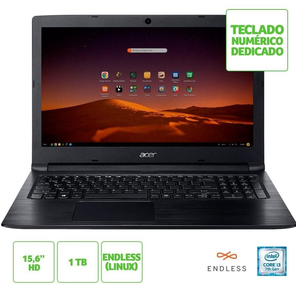 Notebook Acer Aspire 3 A315-53-343Y Core i3-7020U 4GB RAM HD 1TB Tela de 15.6'' Linux (Endless OS)