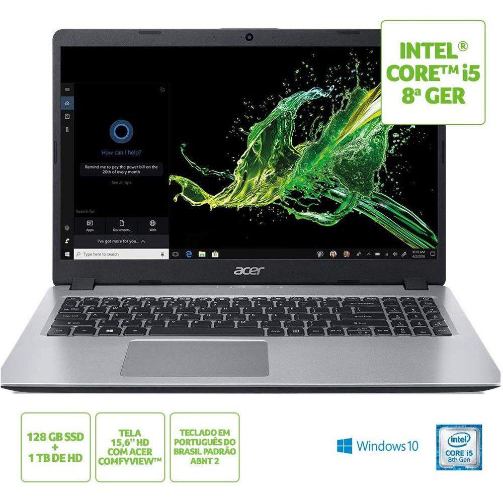 Notebook Acer Aspire 5 i5-8265U 8GB RAM 128GB SSD + 1TB HD Tela 15.6'' Windows 10 - A515-52-56A8