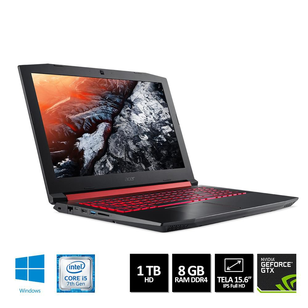 Notebook Gamer Acer Nitro 5 AN515-51-50U2 Tela 15,5'' Intel Core i5-7300HQ RAM 8GB HD 1TB Windows 10 Home