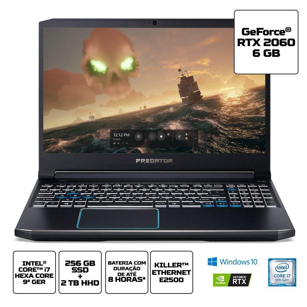 Notebook Gamer Acer Predator PH315-52-7210, Intel i7-9°Geração, 16GB, SSD 256GB, Tela 15.6'' - Windows 10 Home