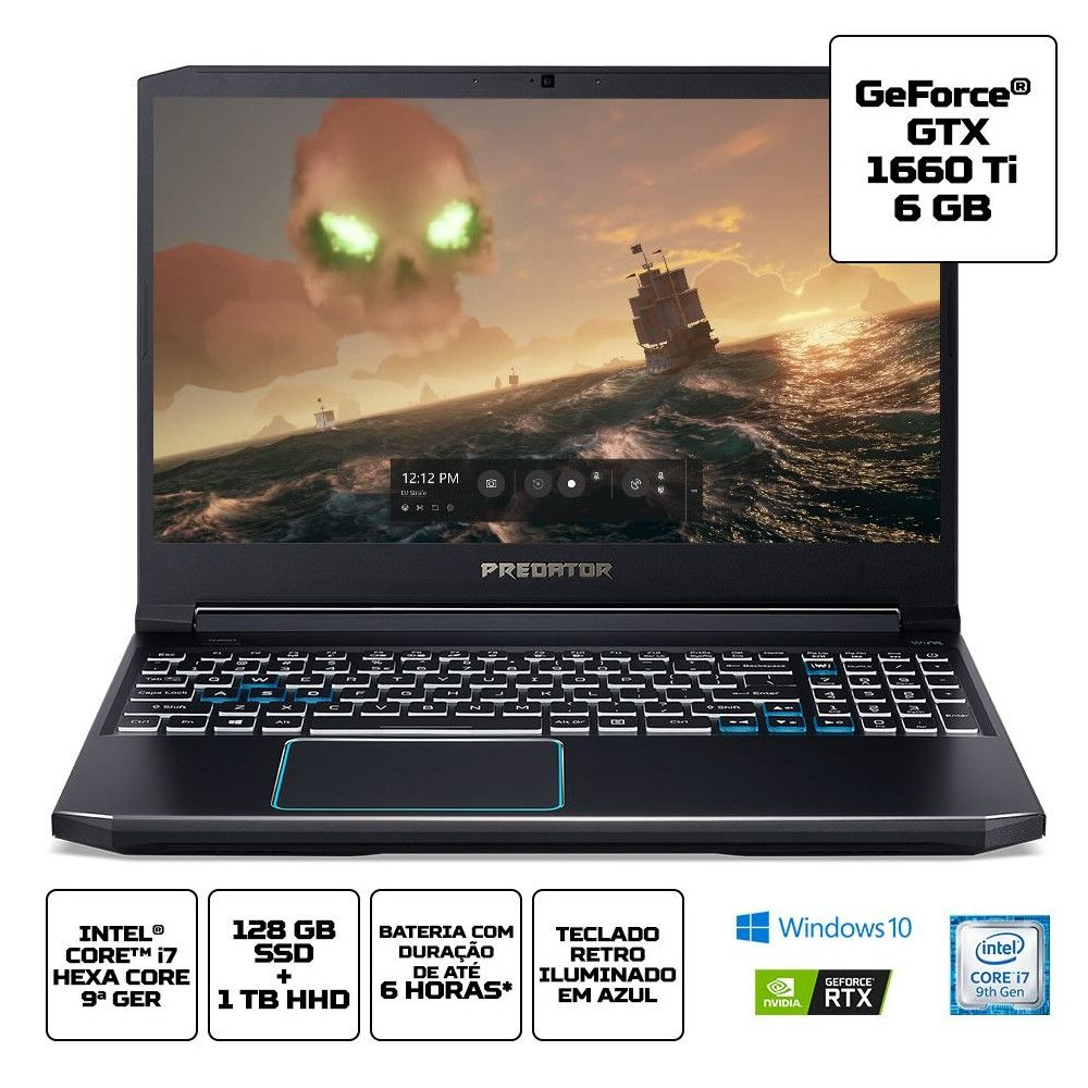 Notebook Gamer Acer Predator PH315-52-748U, Intel i7-9°Geração, 16GB, SSD128GB, Tela 15.6'' - Windows 10 Home