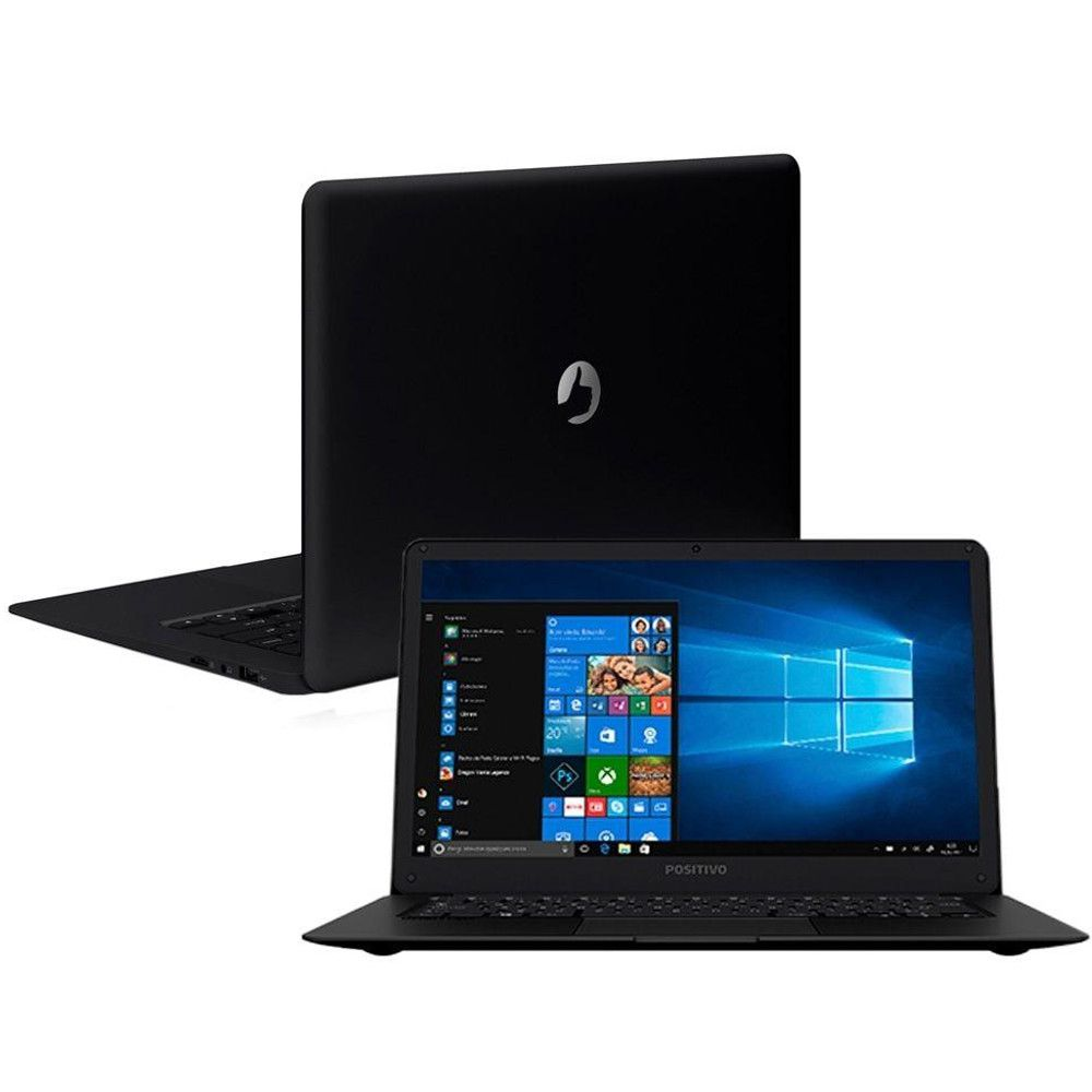 Notebook Positivo Motion Q232A, Intel Atom, Tela 14'', Memória Flash 32GB, 2GB RAM, Windows 10 Home - Preto
