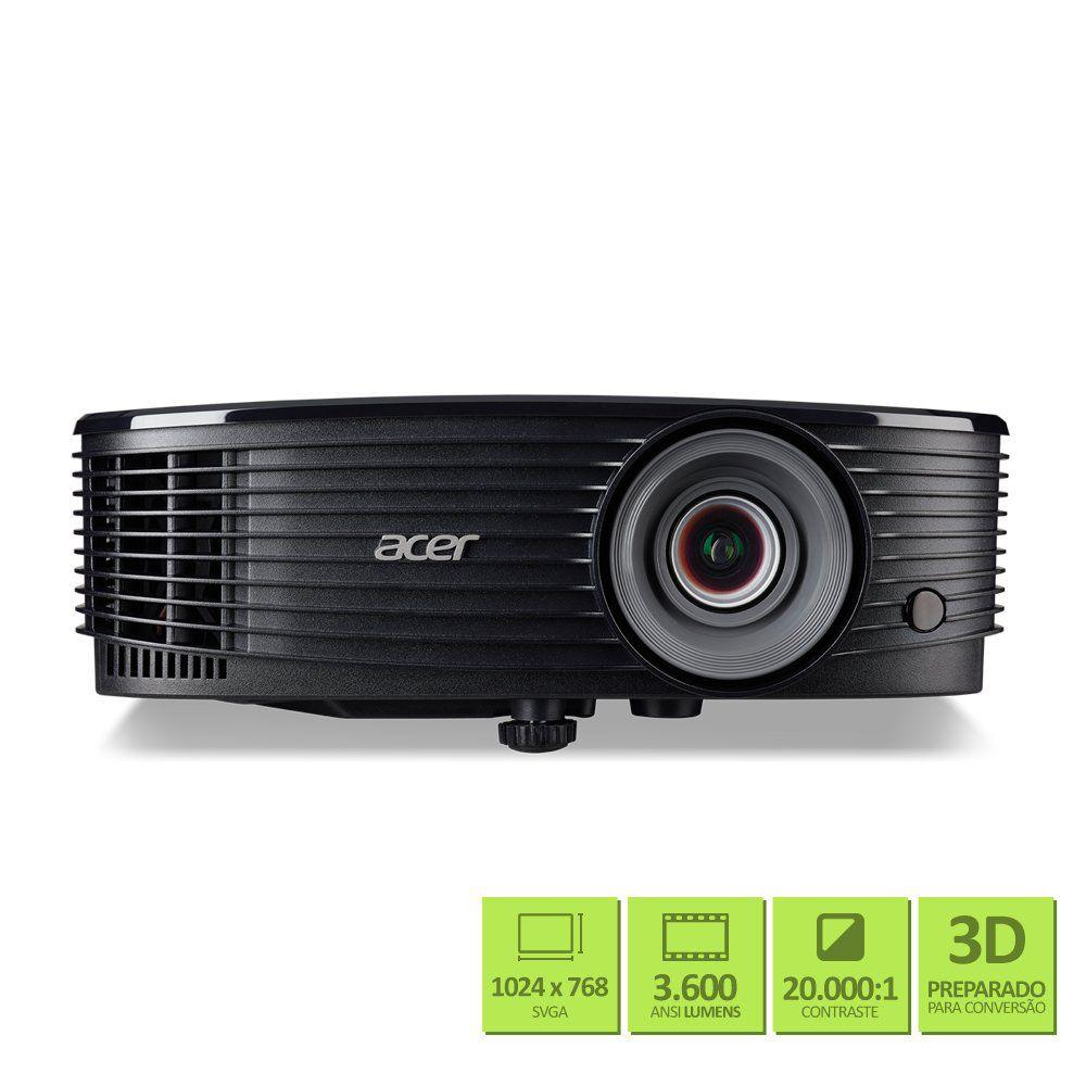 Projetor Multimídia Acer X1223H 3600 Lumens XGA HDMI 3D Ready - MR.JPR11.00J
