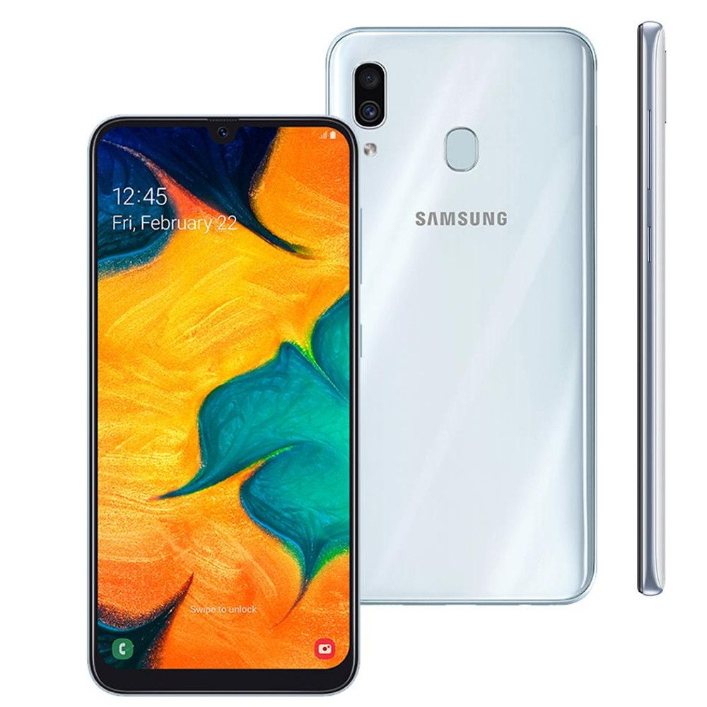 Smartphone Samsung Galaxy A30, Dual Chip, Branco, Tela 6.4'', 64GB, Camera Dupla 16MP+5MP e Frontal 16MP, 4G+Wi-Fi