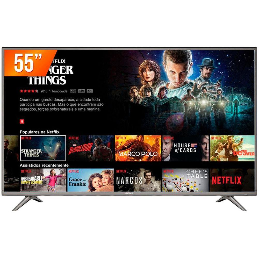 "TV LED UHD 55"" Semp-TCL 55SK6200 Smart 4K, Wifi, USB, HDMI, Netflix, Youtube."