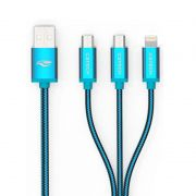 Cabo USB C3 Tech 3X1 Azul CB-300BL - Iphone/Android