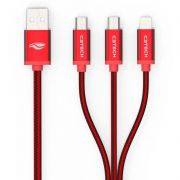 Cabo USB C3 Tech 3X1 Vermelho CB-300RD - Iphone/Android