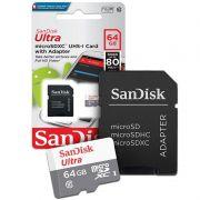 Cartão de Memória Sandisk Micro SD 64GB Ultra Classe 10 Com adaptador SDSQUNS-064G-GN3MA