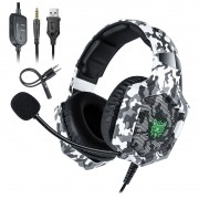Headset Gamer Onikuma K8 Camuflado Cinza RGB PS4, XBOX e PC