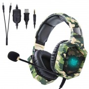 Headset Gamer Onikuma K8 Camuflado Verde RGB PS4, XBOX e PC
