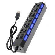 Hub USB High Speed 7 Portas Preto