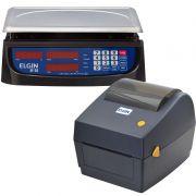 Kit Balança Digital Elgin DP30 Com Bateria + Impressora de Etiquetas Elgin L42DT