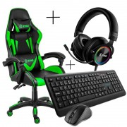 Kit Gamer Cadeira, Headset, Teclado e Mouse Xzone