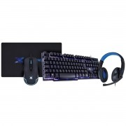 Kit Prodigy VX Gaming Teclado Hydra + Mouse Cruzader 3200 DPI + Headset V Blade II USB + Mouse Pad Nebulosa ? AZUL
