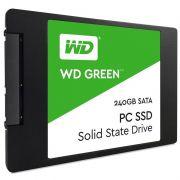 SSD WD Green 240GB Sata III 2,5? 6Gb/s, Leitura 540MBs, Gravação 465MBs WDS240G2G0A