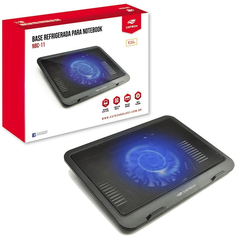 Base Para Notebook 14? NBC-11Bk C3 Tech Preto com Led Azul