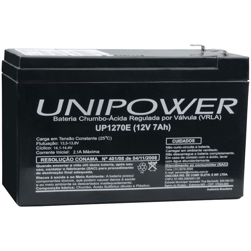 Bateria Unipower 12v 7ah Up1270e P/ No-break