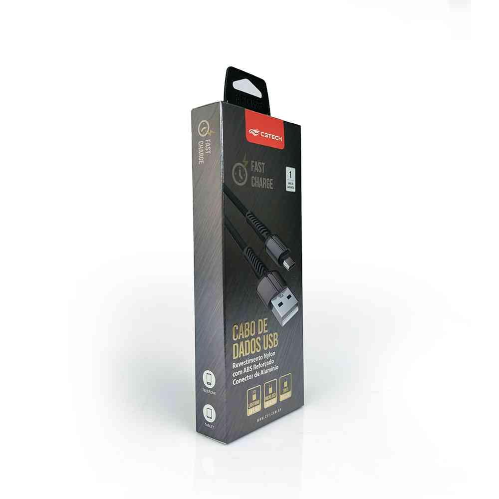 Cabo Micro USB C3 Tech 1M Fast Charger CB-M150BK Preto