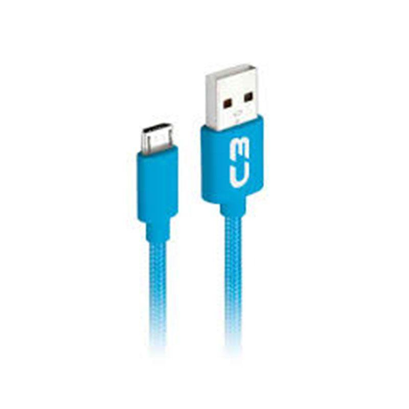 Cabo Micro USB C3 Tech 1M Nylon CB-M11BL Azul