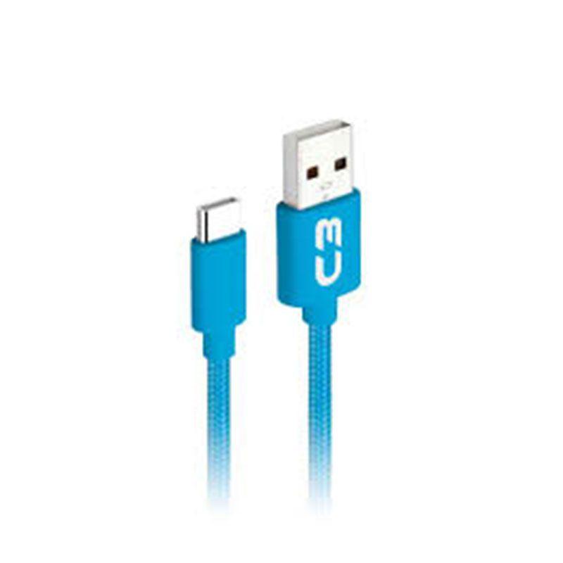 Cabo USB Tipo C C3 Tech Plus 1m Nylon CB-C11BL Azul