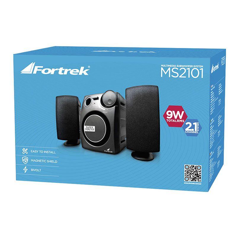 Caixa de Som Fortrek Com Subwoofer 2.1 9W Rms MS2101