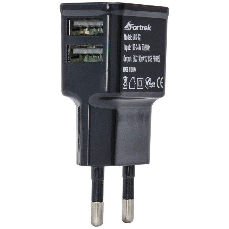 Carregador Fortrek Fonte de Energia USB 2 Portas 2,1A UPK-121 Preto