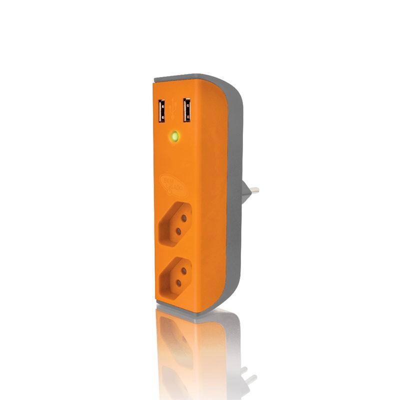 Carregador USB 2,1A + filtro bem ligado FL-USB21GOR Laranja
