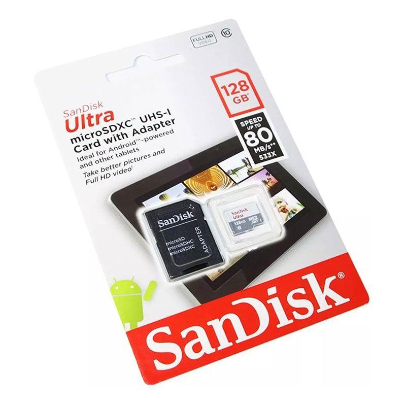 Cartão de Memória Sandisk Micro SD 128GB Ultra Com Adaptador ? SDSQUNS-128G-GN6TA