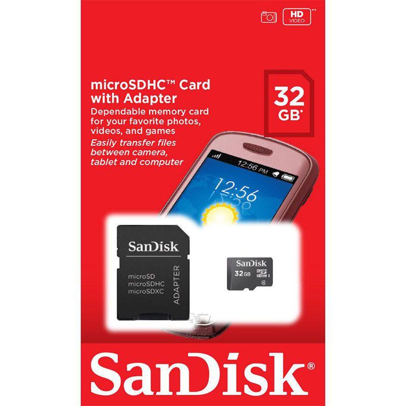 Cartão de Memória Sandisk Micro SD 32GB Com Adaptador - SDSDQM-032G-B35A